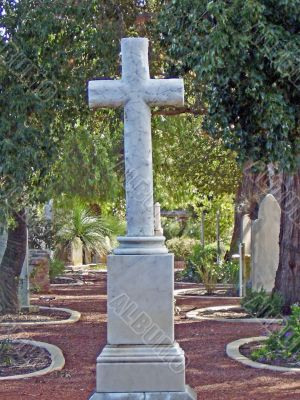 Cross on a walkway