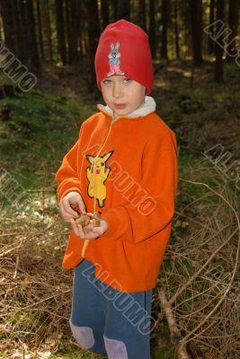 boy and mushrooms