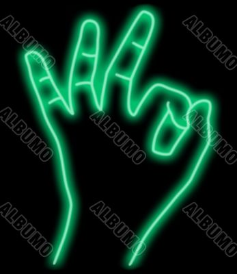 Abstract neon sign of hand OK sign