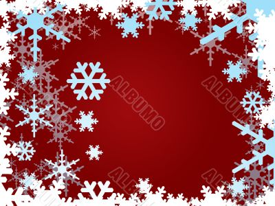 Snowflakes on burgundy background