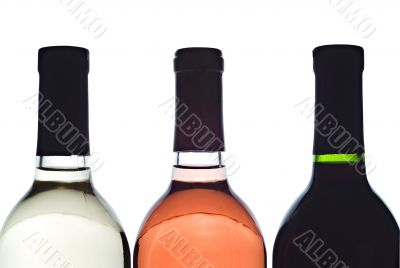 3 backlit wine bottles