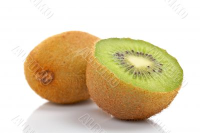 Two half of kiwi fruit