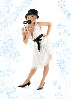 pretty lady with black mask and snowflakes