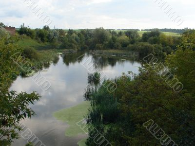 Deep calm river waters near forest