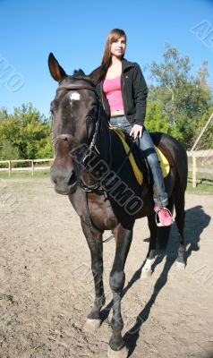 female equestrian in saddle of black stallion
