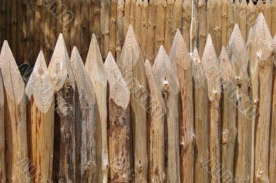 wooden sharp logs palings barrier wall