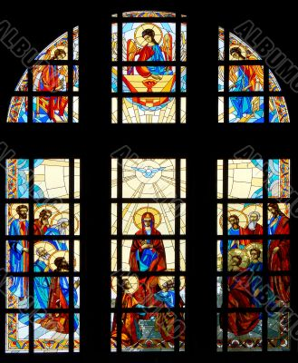 Colrful stained glass window of cathedral