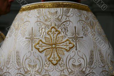 Holy Cross on slavic orthodox priest`s mantle