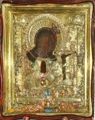 orthodox st. mary icon in rich gold frame