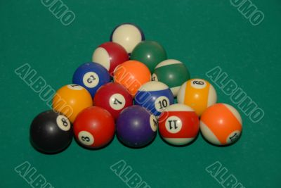 billiards table with pool balls