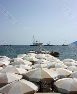 Dense beach umbrellas