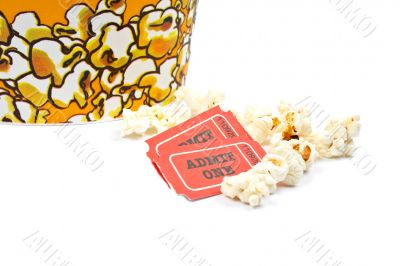 Two tickets and popcorn bucket
