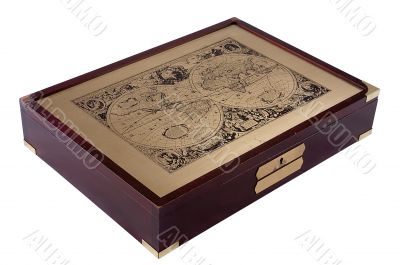 Old wooden box for documents with an ancient map.