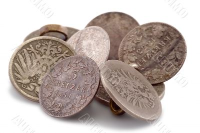 Pile of ancient German coins in the form of buttons