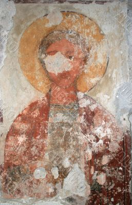 Fresco on the wall of temple of a VI age