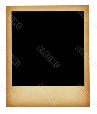 old stained photo frame isolated