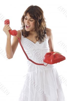 Girl shouting at the phone