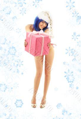 santa helper girl on high heels with snowflakes 2