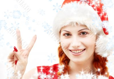 santa helper showing victory sign with snowflakes