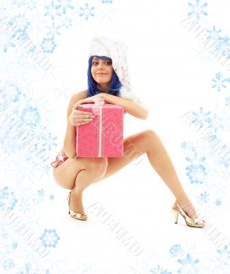 santa helper girl on high heels with snowflakes 3