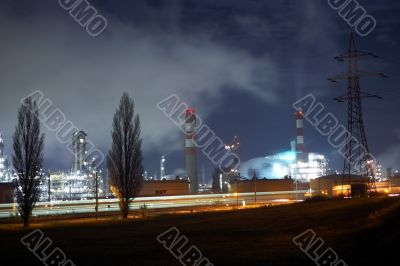 Oil refinery with moonlight