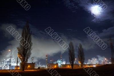 Oil refinery under the moon