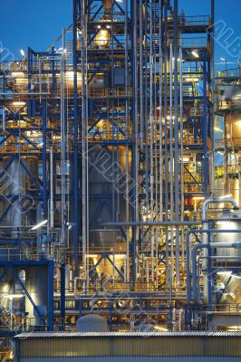 Close-up on oil refinery