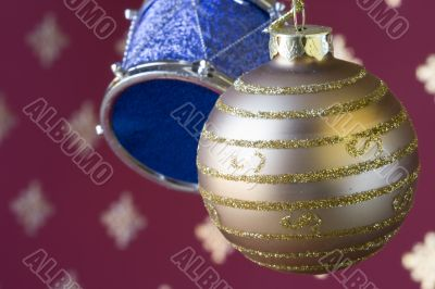 Christmas ball and drum background (selective and soft focus)