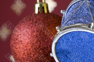 Christmas ball and drum (selective and soft focus)