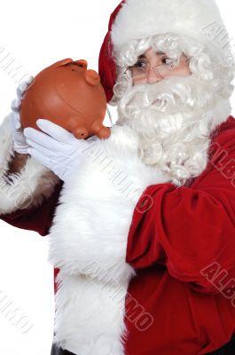 Santa Claus with a pig money box