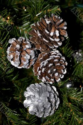 Silver pine cones, - Christmas Decoration