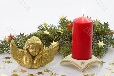 Golden Angel with Red Candle and Fir Branch
