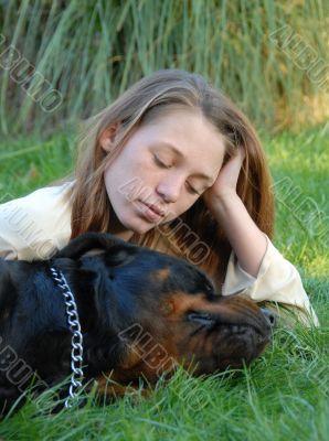 sleeping dog and woman
