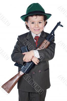 Boy with machine gun