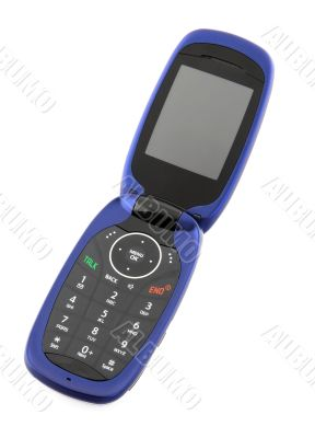Blue clamshell cell phone