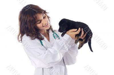 Attractive lady veterinarian