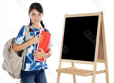 girl studying whit slate