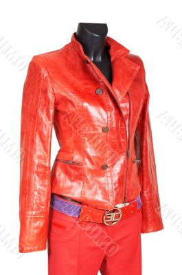Red a jacket and trousers