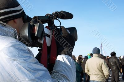 The operator with a videocamera