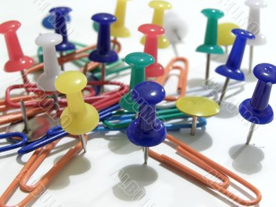thumb tacks and paper clips