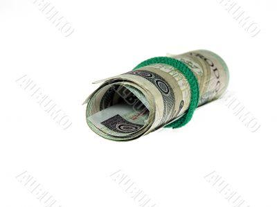 Scroll money over white