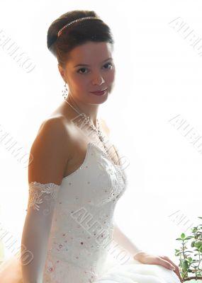 Bride in white portrait in wedding day