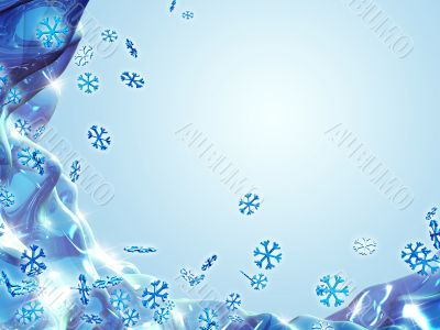 Shiny Snowflakes on Wavy Reflected Background