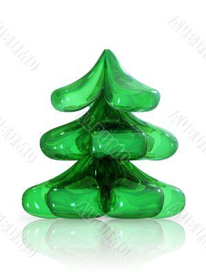 Shiny Christmas Tree on white background