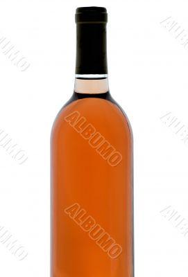 Single bottle of backlit blush wine
