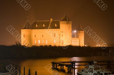 Medieval castle in the dark
