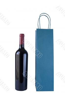 Wine Bottle and Bag on white background with clipping path