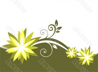green botanical pattern