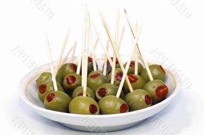 Olive on dish