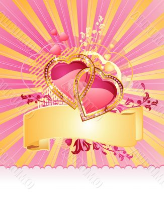 love hearts / with banner  / valentine /  vector